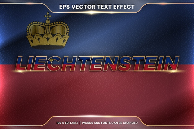 Liechtenstein con la sua bandiera nazionale del paese, stile di effetto testo modificabile con concetto di colore oro sfumato