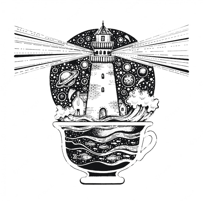 Lighghouse in tazza di caffè linea nera art. schizzo in stile vintage per stampa t-shirt o tatuaggio.