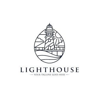 Lighthouse line art logo template