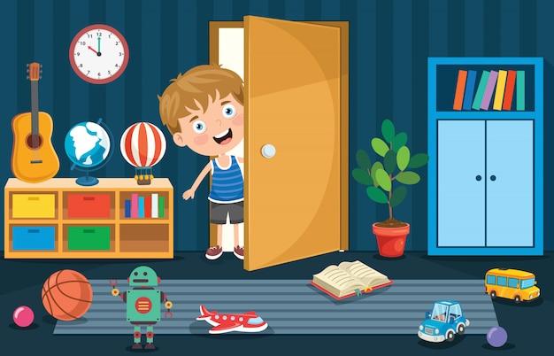 Liitle boy aprendo la porta