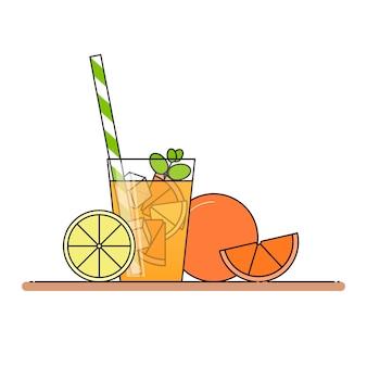 Limonata all'arancia con fette di frutta