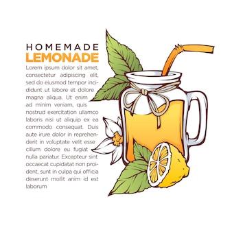 Limonata fatta in casa, illustrazione disegnata a mano di vettore per il tuo ricettario