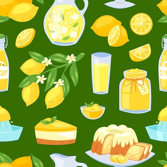 Limone cibo limone giallo agrumi e limonata fresca o succo naturale illustrazione set di torta al limone con marmellata e sciroppo citrico sfondo seamless