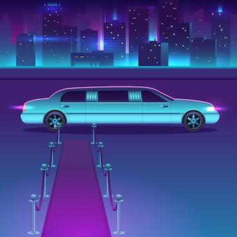 Limousine con un tappeto rosso al vettore di notte di fronte al paesaggio urbano della città, metropoli di lusso.