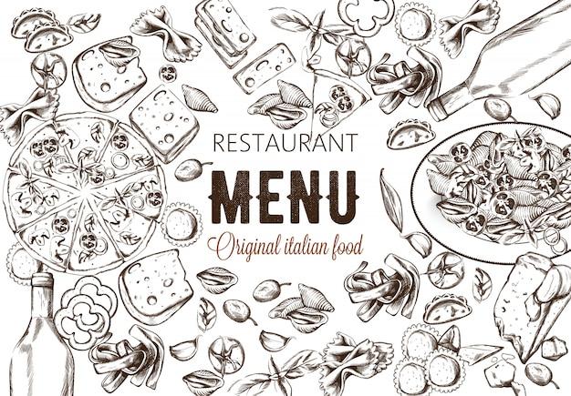 Line art composizione alimentare con deliziosa pizza, pasta con pomodori