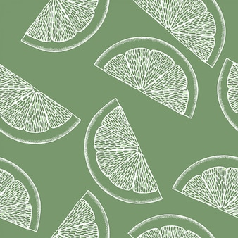 Line art illustrazione colorata su sfondo verde. modello astratto di limone per la progettazione di stampa. illustrazione colorata. arte. sfondo carino senza soluzione di continuità. modello senza cuciture di natura tropicale.