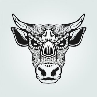Line art in bianco e nero di mucca