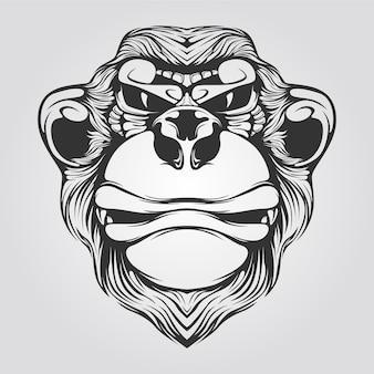 Line art in bianco e nero di scimmia