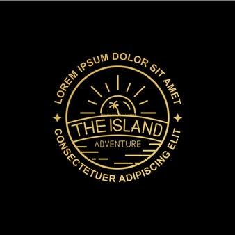 Line art island logo design