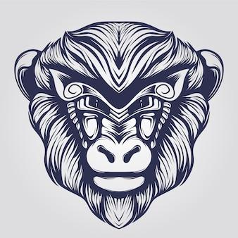 Line art scimmia