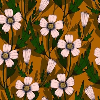 Linea arte che disegna modello senza cuciture del fiore rosa-chiaro e foglia verde su marrone giallo