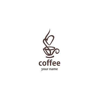 Linea arte del modello di vettore di progettazione di logo del caffè.