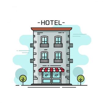 Linea arte dell'illustrazione di vettore della costruzione dell'hotel del profilo