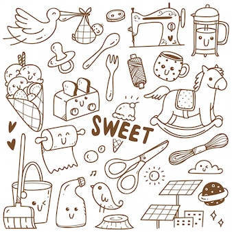 Linea arte della collezione doodle kawaii, adatta per la colorazione