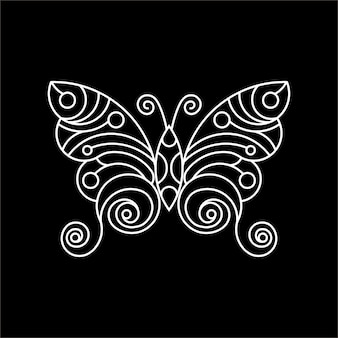 Linea arte della farfalla illustrazione grafica per t-shirt