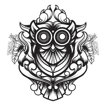 Linea arte della geometria sacra ornamentale del gufo