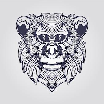 Linea arte della scimmia con la faccia decorativa