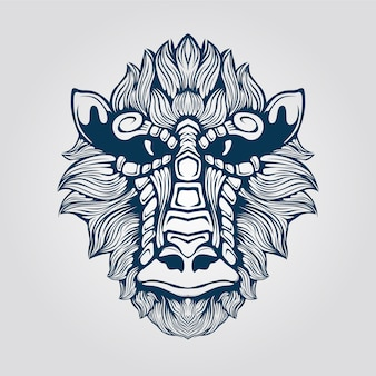 Linea arte della testa di scimmia con la faccia decorativa