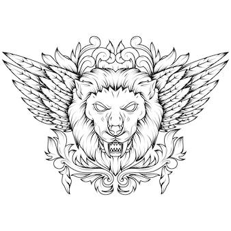 Linea arte illustrazione di una testa di leone mitico alata d'oro.