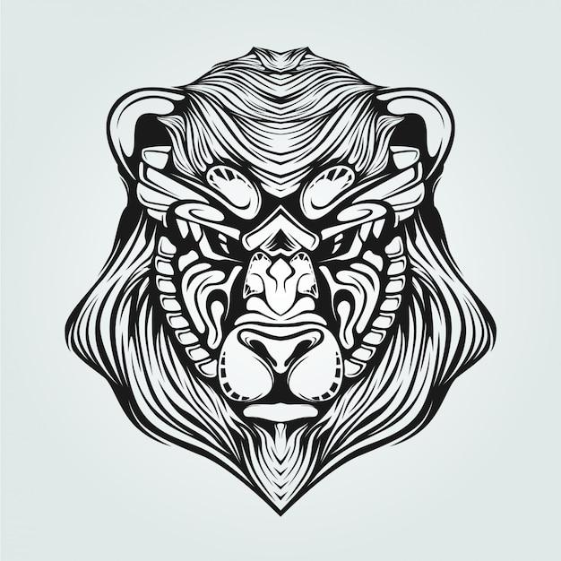 Linea arte in bianco e nero di orso con la faccia decorativa