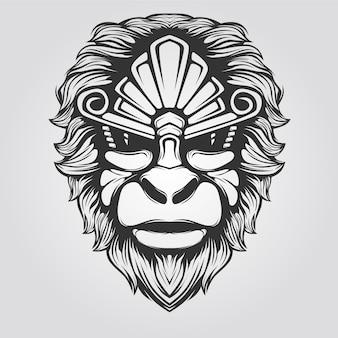 Linea arte scimmia in bianco e nero
