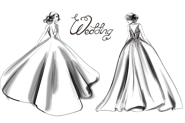 Linea arte silhouette sposa
