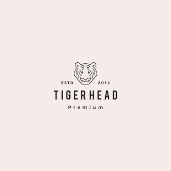 Linea bianca monolin del profilo dell'illustrazione di vettore di logo della testa della tigre della testa