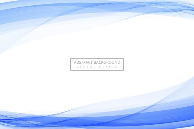 Linea blu astratta che scorre il fondo blu dell'onda