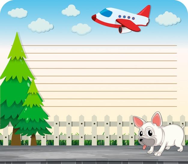 Linea carta desing con cane sul marciapiede