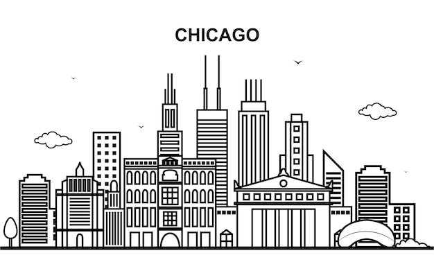 Linea cityscape skyline di chicago city tour line outline