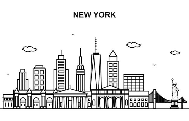 Linea cityscape skyline di new york city tour line outline