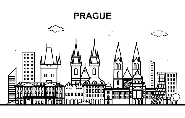 Linea cityscape skyline di praga city tour line outline