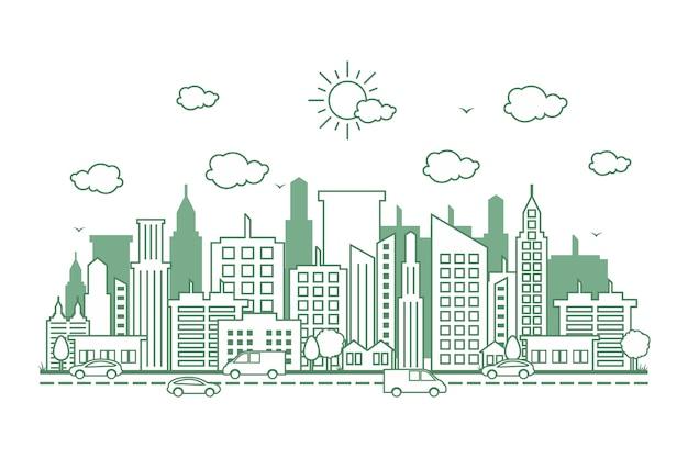 Linea cityscape skyline street road line design illustrazione