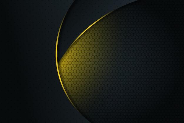 Linea curva astratta della luce gialla su fondo futuristico moderno di progettazione di spazio in bianco grigio scuro