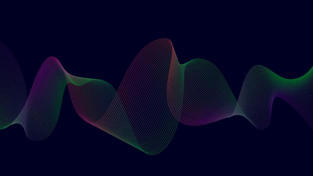 Linea curva astratta variopinta su buio
