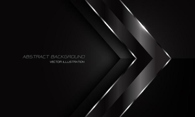 Linea d'argento metallica nera astratta direzione della freccia su oscurità con fondo futuristico moderno di progettazione dello spazio.