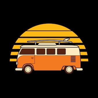 Linea d'arte art t-shirt design dell'illustrazione grafica della natura del mare della spiaggia di tramonto di automobile