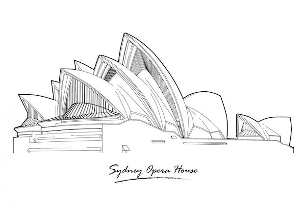 Linea d'arte dettagliata dell'architettura di sydney opera house