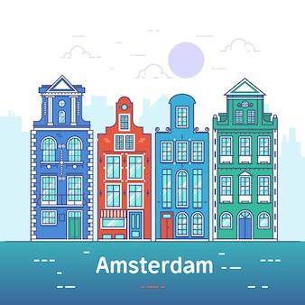 Linea d'arte di amsterdam. città vecchia europea.