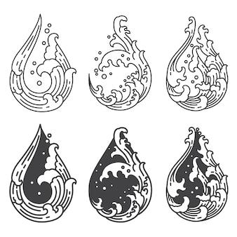 Linea d'onda dell'acqua a forma di goccia impostata