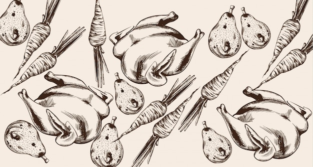 Linea del menu della cena del ringraziamento felice. turchia e illustrazioni dettagliate di verdure