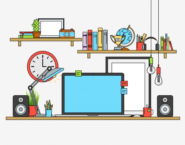 Linea design piatto mock up di spazio di lavoro moderno