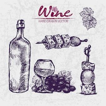Linea dettagliata illustrazione disegnata a mano viola bottiglia di vino illustrazione
