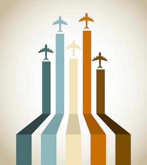 Linea di aerei sopra l'illustrazione d'annata di vettore del fondo