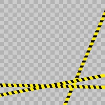 Linea di allarme della polizia. nastro giallo e nero della costruzione della barricata su bianco