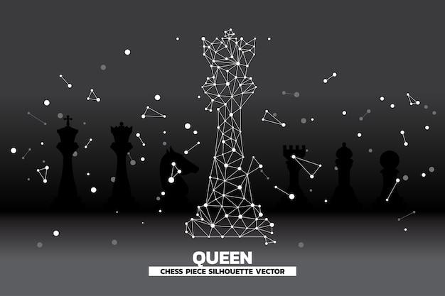 Linea di basso punto poligono collegato del vettore di scacchi pezzo regina.