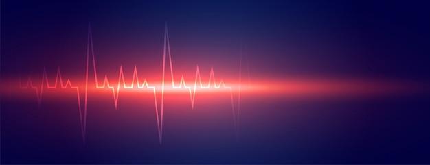 Linea di battito cardiaco incandescente design di banner di scienza medica