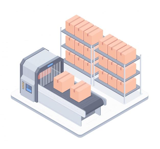Linea di boxe automatizzata con illustrazione isometrica del nastro trasportatore
