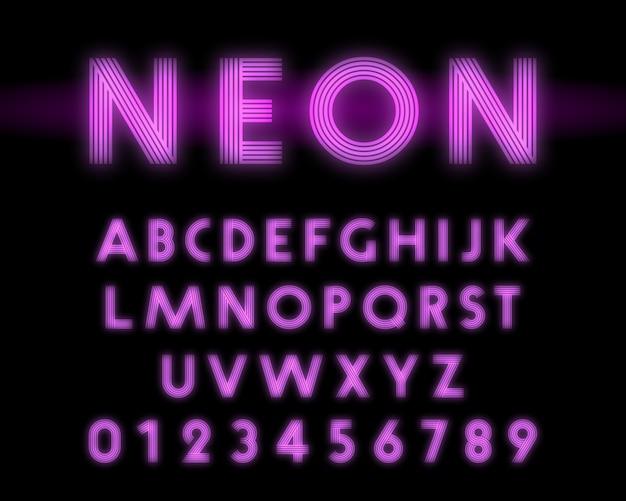 Linea di caratteri alfabeto retrò al neon