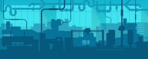 Linea di fabbrica che produce scena di impianti industriali.